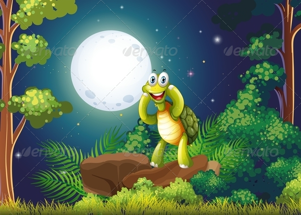 GraphicRiver Smiling Turtle in the Forest 7969212