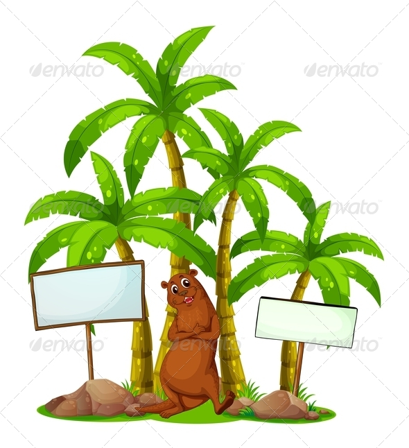 GraphicRiver Sealion Under Trees with Blank Signs 7969312
