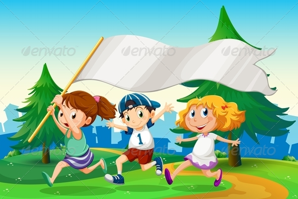GraphicRiver Three Kids Running with an Empty Flag Banner 7969317