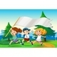 Three Kids Running with an Empty Flag Banner - GraphicRiver Item for Sale