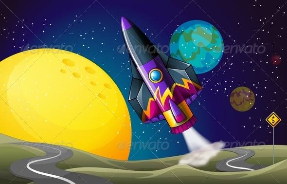 GraphicRiver Colorful Aircraft Near the Moon 7969328