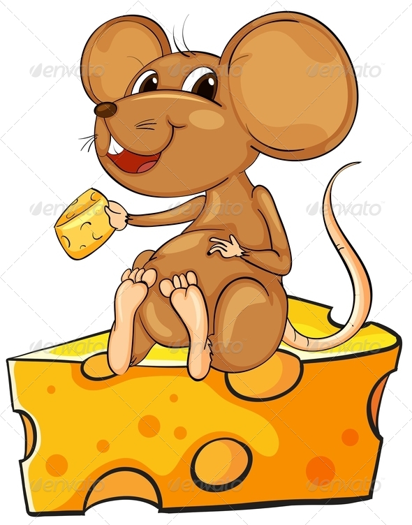 Mouse Sitting on Cheese