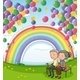Old Couple Below Floating Balloons and a Rainbow - GraphicRiver Item for Sale