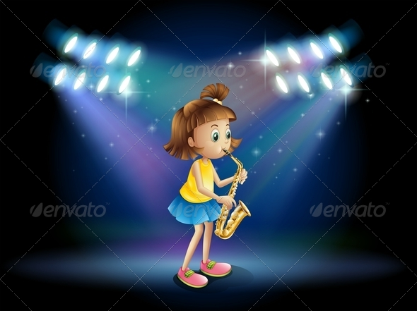 GraphicRiver Young Lady on a Stage Playing Her Saxophone 7969597