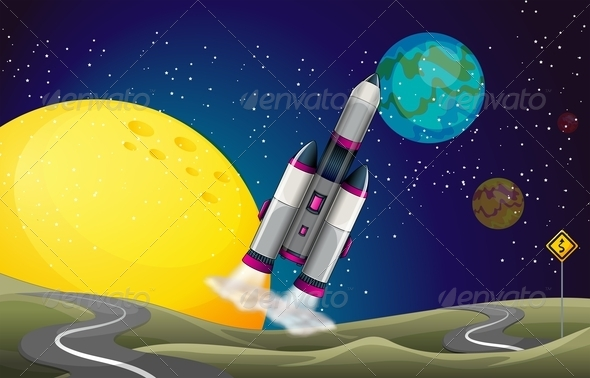GraphicRiver Road in Outerspace with an Aircraft 7969598