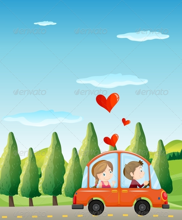 GraphicRiver Couple Riding on a Car 7969601