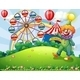 Hilltop with a Clown and an Amusement Park - GraphicRiver Item for Sale