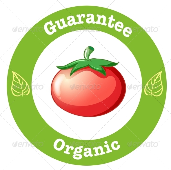 Pure Organic Label with a Red Tomato