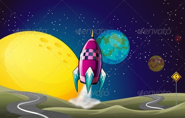 GraphicRiver A Spaceship in Outerspace Near the Moon 7969721