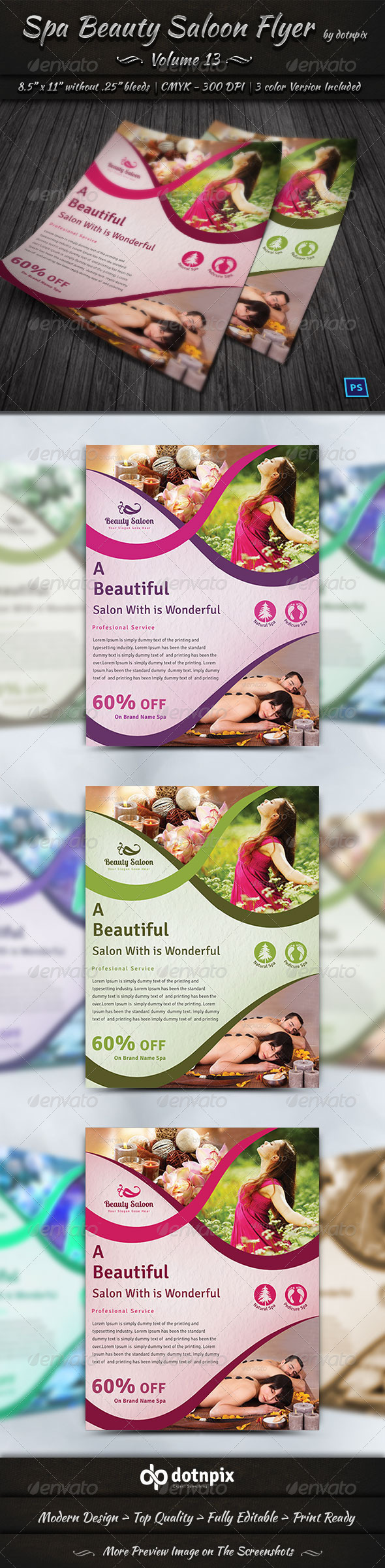 GraphicRiver Spa Beauty Saloon Flyer Volume 13 7969950