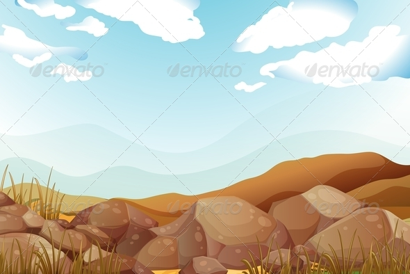 GraphicRiver Big Brown Rocks Under the Blue Sky 7969955