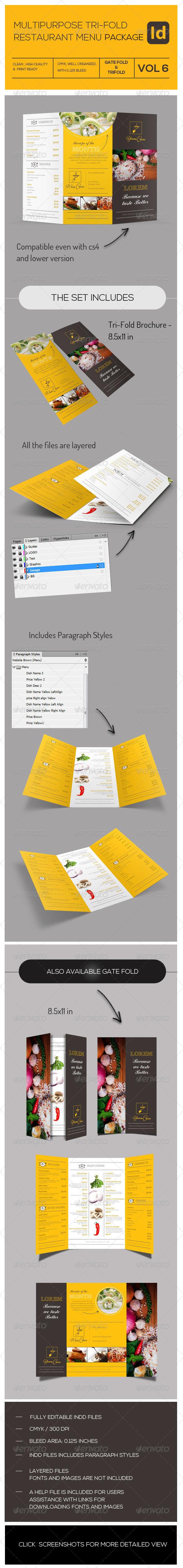 GraphicRiver Tri-Fold Multipupose Restaurant Menu 7937111