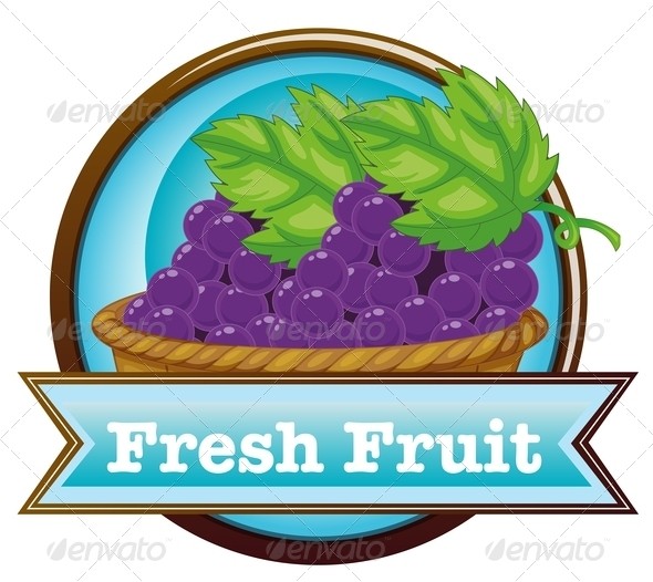 GraphicRiver Fresh Fruit Label with a Basket of Grapes 7970287