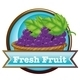 Fresh Fruit Label with a Basket of Grapes - GraphicRiver Item for Sale