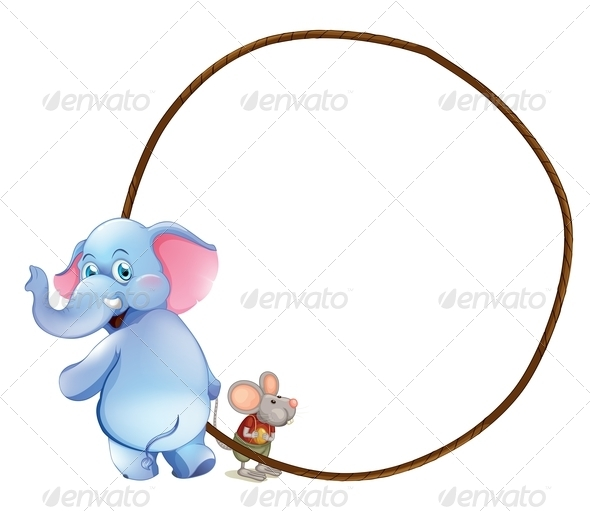 Round Empty Template with an Elephant and Mouse