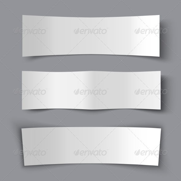 GraphicRiver Set of Bended Paper Banners with Shadows 7970456