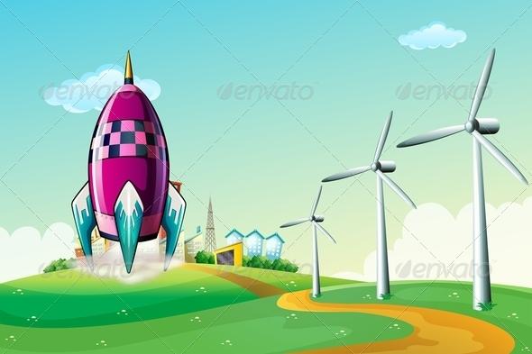 GraphicRiver A Spaceship Near Windmills 7970466