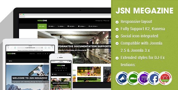 ThemeForest JSN Megazine Responsive Joomla Magazine Template 7692284