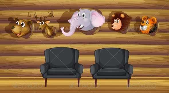 GraphicRiver A Living Room with Stuffed Head Decorations 7970505