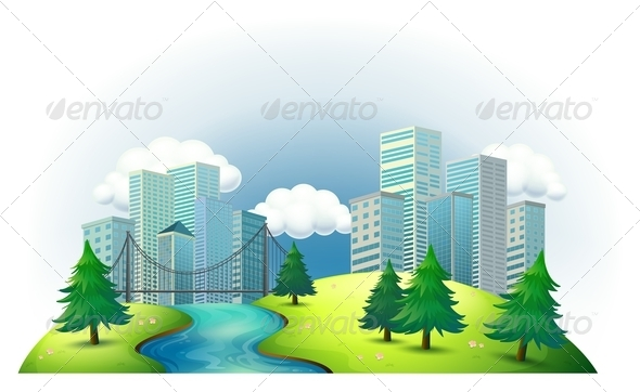 GraphicRiver Tall Buildings on an Island with a River and Pines 7970527