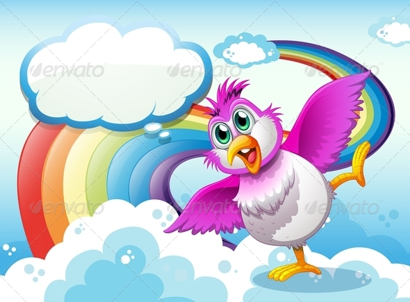 GraphicRiver Bird in the Sky Near a Rainbow 7970572