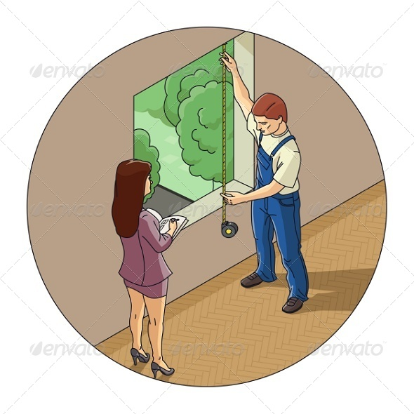 GraphicRiver Man and Woman Measure Window 7972173