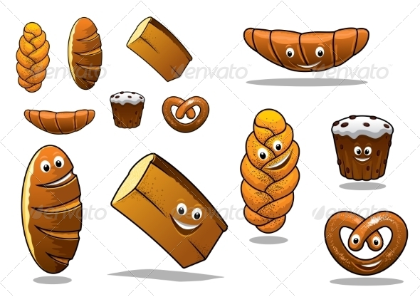 GraphicRiver Large Set of Cartoon Loaves of Bread 7972329