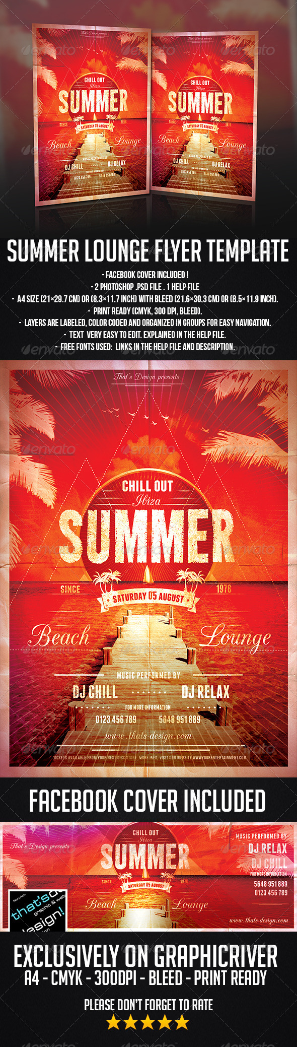 GraphicRiver Summer Lounge Flyer Template 7972361