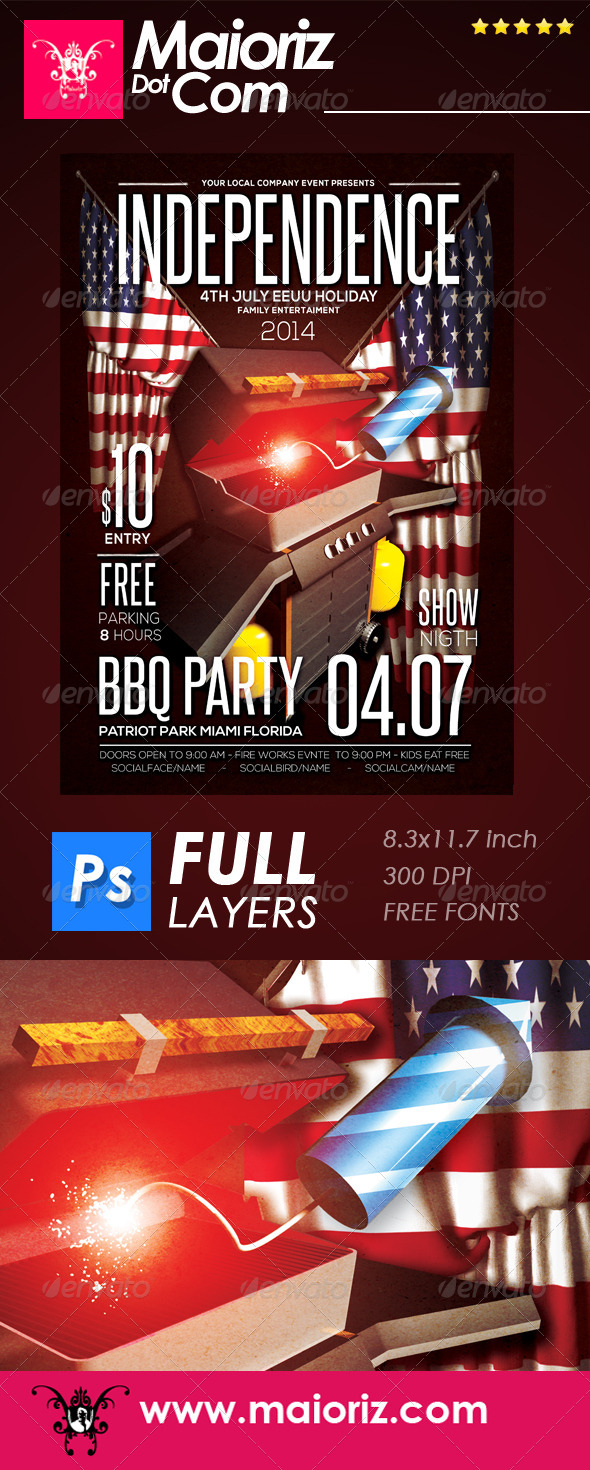 Bbq Independence Flyer Event - Holidays Events