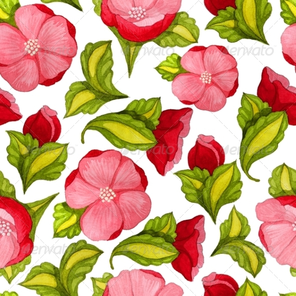 GraphicRiver Watercolor Seamless Pattern with Pink Peony 7972390