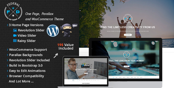Federal One Page Multi-Purpose WooCommerce - Creative WordPress