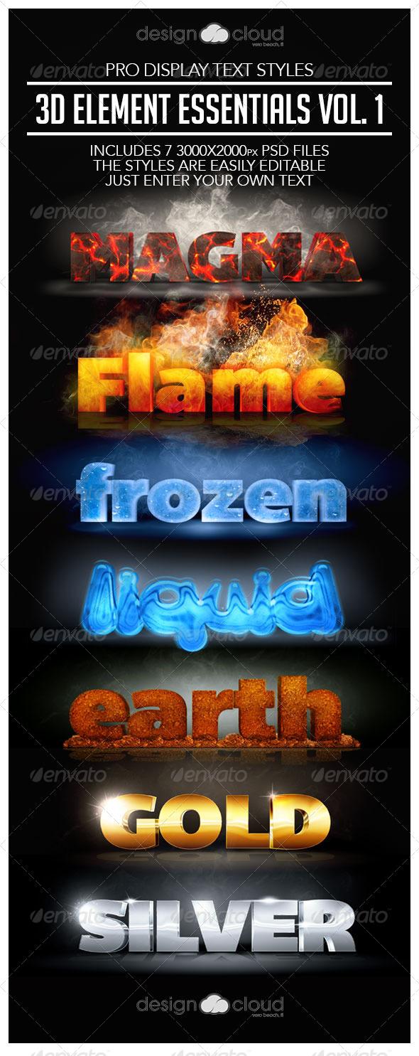 GraphicRiver Pro 3D Text Styles Element Essentials Vol 1 7972724