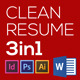 Clean Resume 3in1 with MS Word File - GraphicRiver Item for Sale