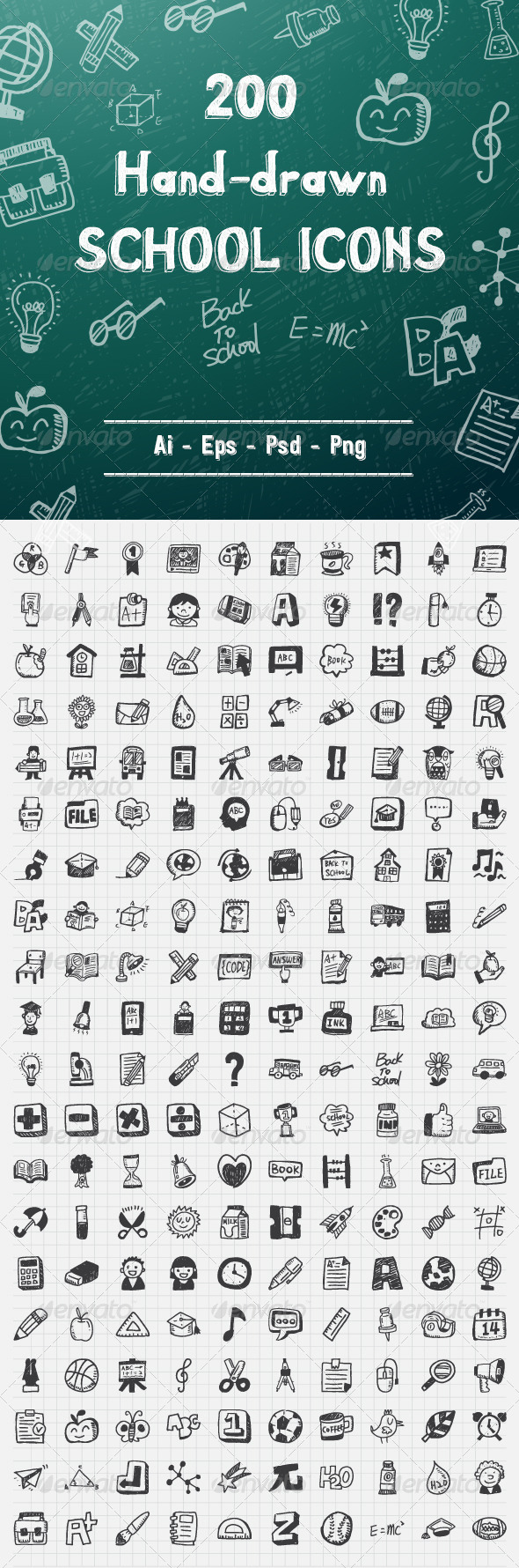 GraphicRiver 200 Hand Drawn School Icons 7973393