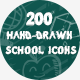 200 Hand Drawn School Icons - GraphicRiver Item for Sale