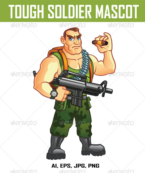 GraphicRiver Tough Soldier Mascot 7973412