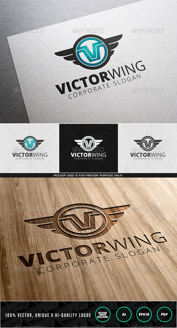 Victor Wing Logo Template - Letters Logo Templates