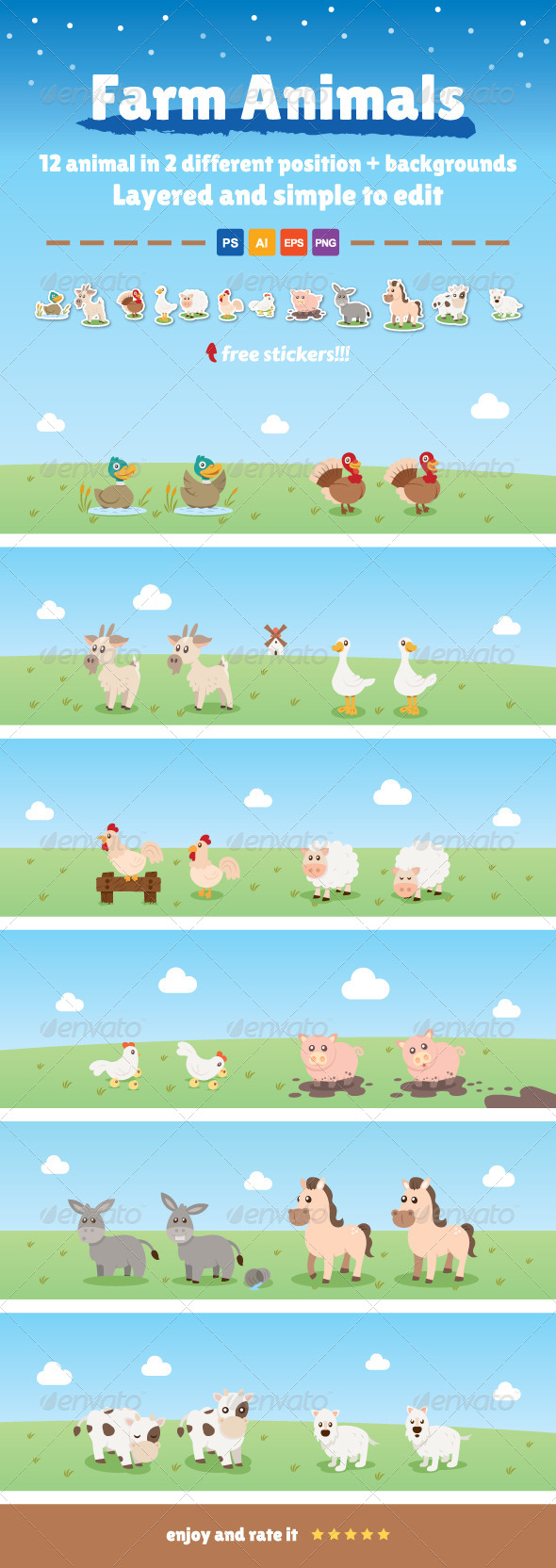 GraphicRiver 12 Farm Animals in 2 Different Position 7973396