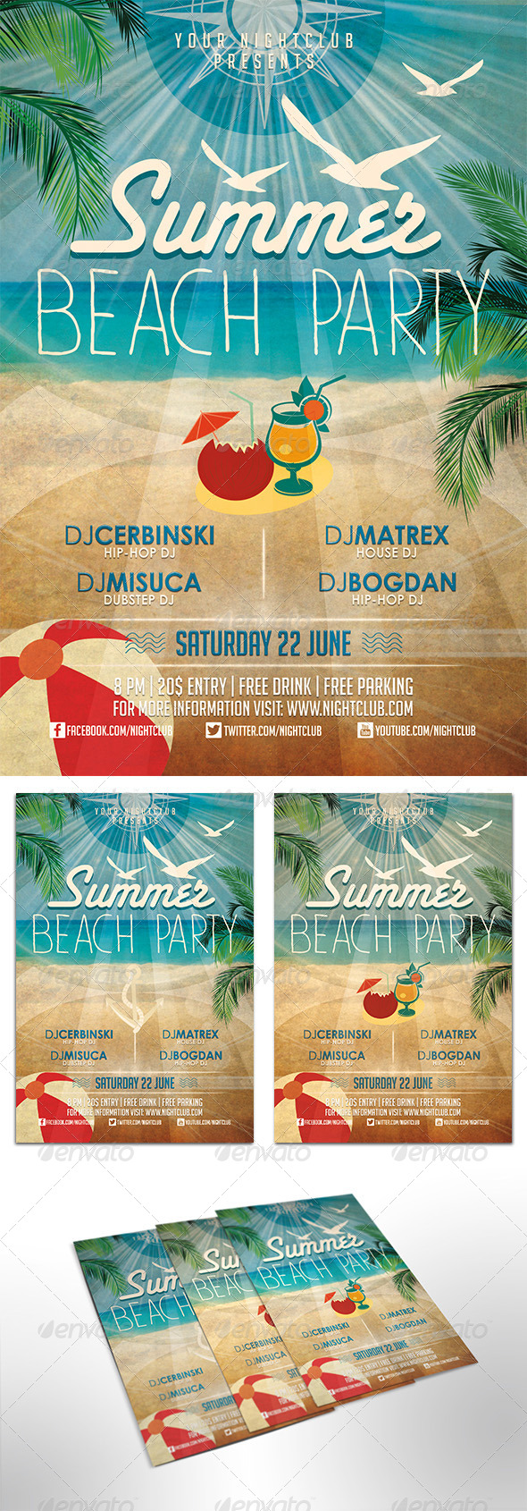 GraphicRiver Summer Beach Party Flyer 7939677
