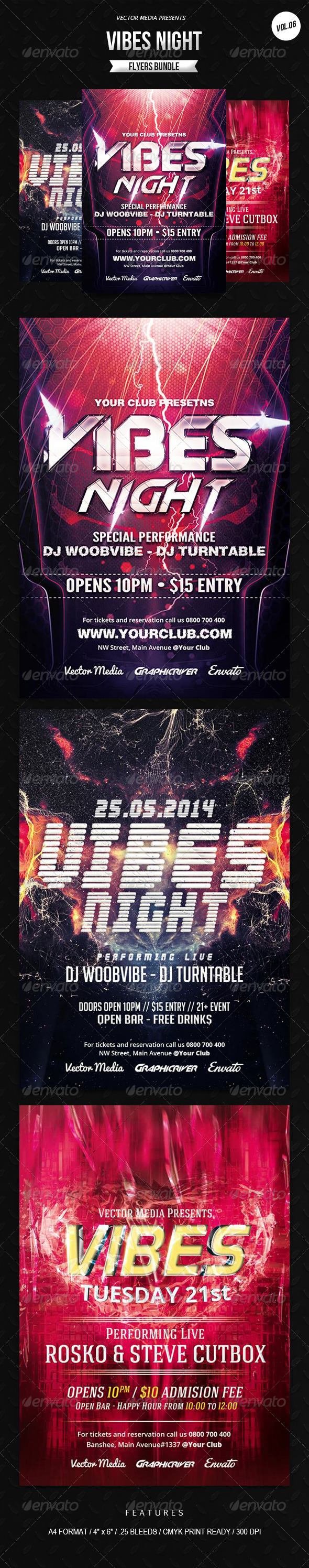 GraphicRiver Vibes Night Flyers Bundle [Vol.6] 7973624