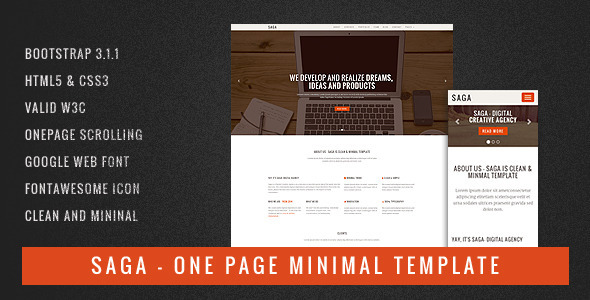 ThemeForest Saga One Page Minimal Template 7951313