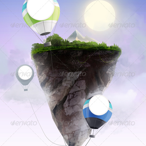GraphicRiver Flying rock with ballons 7974164