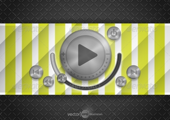GraphicRiver Abstract Technology App Icon With Music Button 7974203