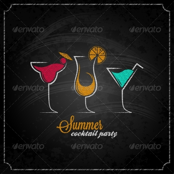 GraphicRiver Cocktail Party Chalk Background 7974215