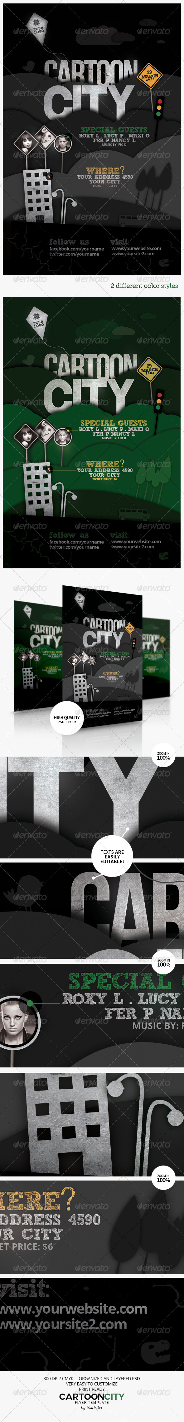 Cartoon City Flyer Template - Events Flyers