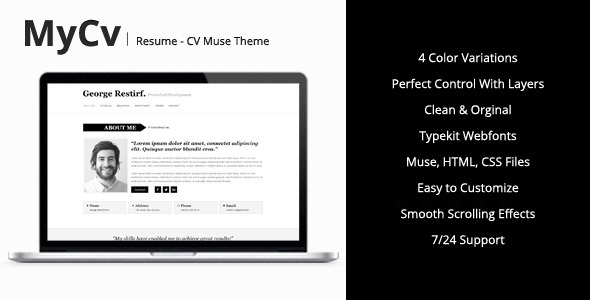 ThemeForest My Cv Resume Muse Theme 7974289