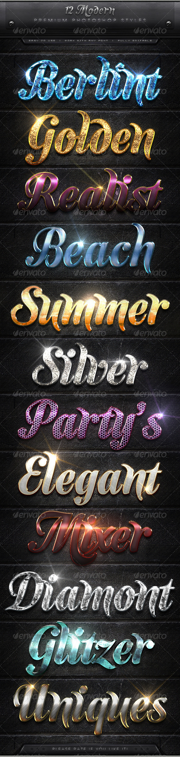GraphicRiver 12 Modern Text Effect Styles 7974300