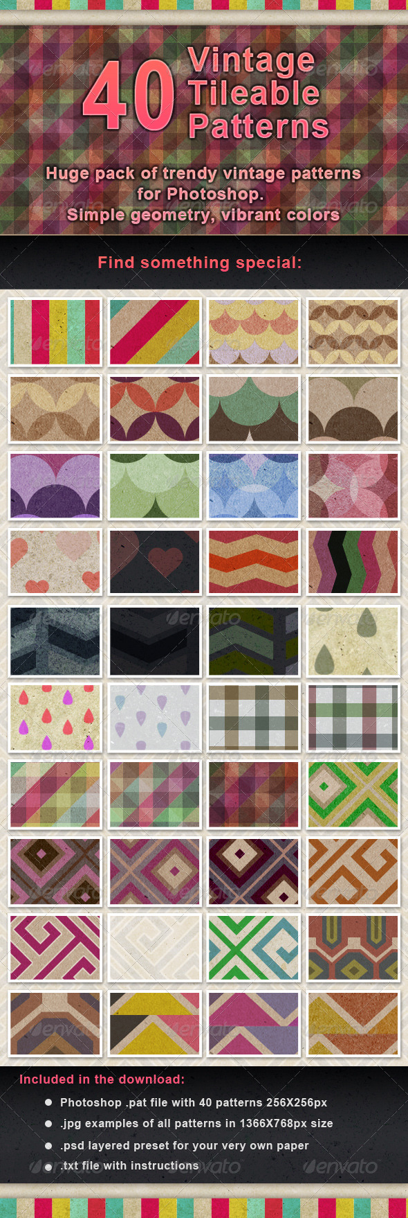 GraphicRiver 40 Vintage Paper Tileable Patterns Set 7974314