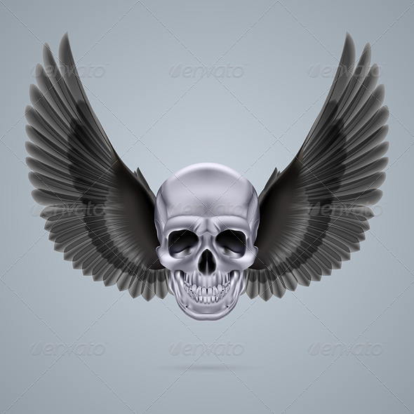 GraphicRiver Skull with Wings 7974350
