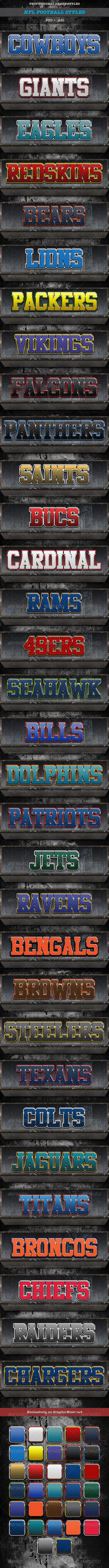 NFL Football Styles - Text Effects Actions